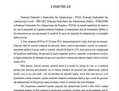 Comunicat de presa federatiile – Publisind, FNSA, SED LEX si Pro Administratie